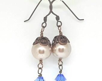 Pretty Beige & Blue Earrings