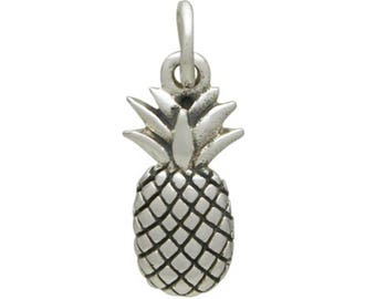 Be a pineapple charm. Sterling silver pineapple jewelry pendant. Make earrings, necklace, add to charm bracelet. Gift for her. Crown.