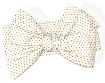 Gold Dots Headwrap, Girls Headwrap, Baby Headwrap, Girls Headband, Big Bow Headwrap, Gold Polka Dots on White - METALLIC GOLD PINDOTS