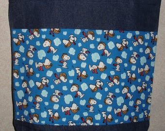 New Large Denim Tote Bag Handmade with Snoopy Peanuts Flying Ace Blue Fabric