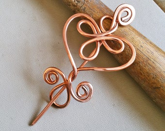 Celtic Heart Copper Shawl Pin, Sweater Fastener, Closure, Copper Hair Slide, Women, Gifts for Knitters, Knitting Gift for Her, Hair Pin Clip