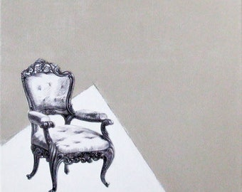 Original painting, Armchair, mixed media on stretched canvas, wall art, home decor, taupe, white, black