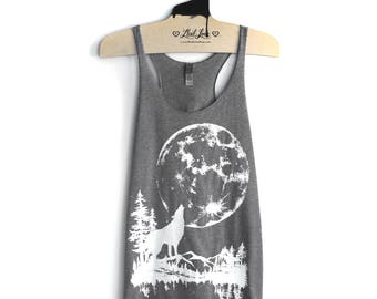 SALE S- Tri-Blend Gray Racerback Tank with Moon Wolf Screen Print