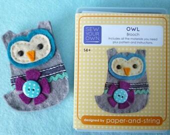 Owl Brooch Mini Kit - Felt sewing kit