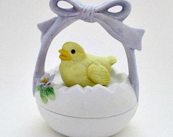 Lefton Chick in Basket Vintage Collectible Trinket Treasure Box