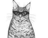 tabby cat wearing a bandit mask for inktober halloween illustration black ink on paper  6 x 6