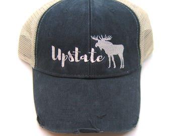 Black Distressed Snapback Trucker Hat - Upstate Moose