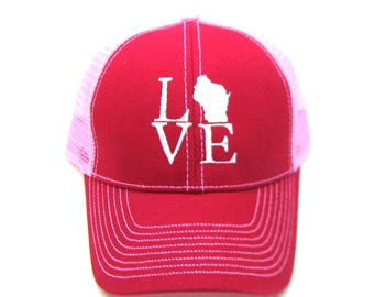 Clearance - Sale - Gift - Gracie Designs Hat - Red and Pink Wisconsin Love trucker hat