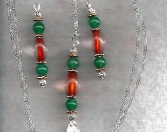 ON SALE Aventurine & Glass Jewelry Set
