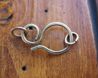 Antiqued Brass Hook Clasp - 18g