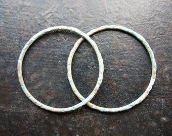 27mm Notched Copper Soldered Circles in Pale Verdigris - 1 pair - 16 gauge Patina Links