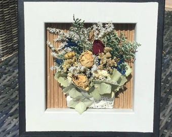 flower collage, mixed media art, dimensional art, dried flowers,  collage, country home, farmhouse decor, shelf sitter
