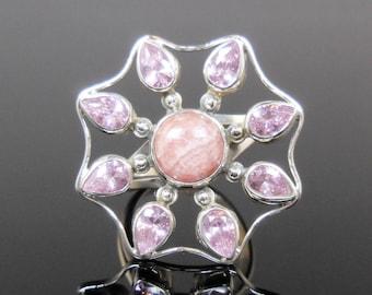Rhodochrosite & kunzite gemstone sterling silver ring - size 8.50
