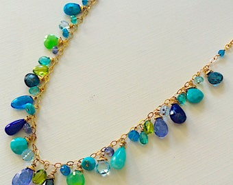 Seascapes Briolette Necklace in Sterling with Apatite, Topaz, Peridot, Lapis