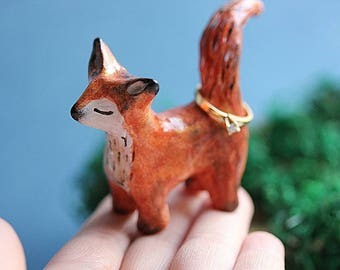 Unique Fox Ring Holder - Handsculpted Jewelry Ring holder - Clay Fox - Totem Animal - Fox Jewelry Holder - Animal Ring Stand, READY TO SHIP