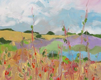 Abstract Landscape Painting Giclee Print of Rolling Hills Impressionist Art Made To Order Fine Art Print Wall Decor by Linda Monfort