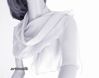 "Pale gray Small Scarf, Silver Petite Shawl, Snorkel Blue Shoulder Wrap, Small Coverup, Pure 100% Silk, petite 19x42"", Handmade, Artinsilk."