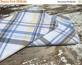 50% OFF- Blue Plaid Fabric-Reclaimed Bed Linens-Cabin Look-Blue and Yellow