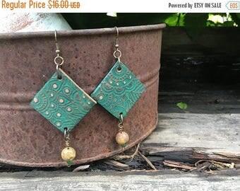 CRAZY SALE- Embossed Leather Earrings-Green Floral-Beaded-Boho Earrings