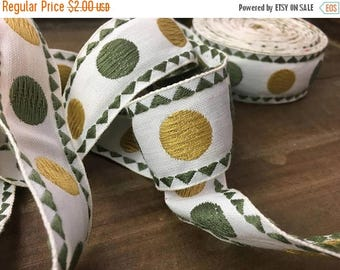 40% OFF- Vintage Retro Trim-Retro-Dots-Olive and Mustard