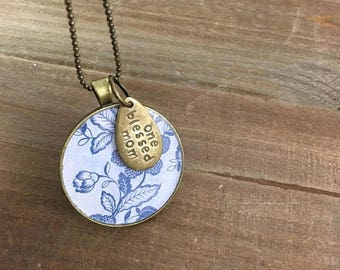 40% OFF- Blessed Mom Necklace-Mother's Day Gift-Stamped Jewelry-Resin Bezel