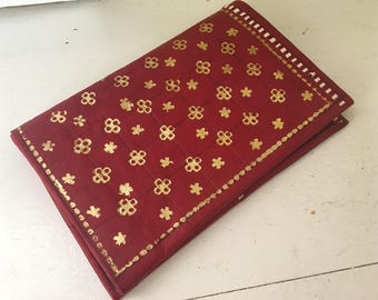 Moroccan 22 Carat Gold Leather Wallet / Red / Etched / Bi-fold