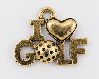 """18mm Gold """"I Love Golf"""" Charm #CHA073"""