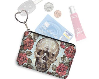 Small Zipper Pouch Skulls & Roses Coin Purse Keychain Key Fob Steampunk Business Card Holder Purse Organizer fabric blue red pink black MTO