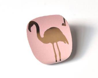 Broken China Jewelry BROOCH - Golden Pink Flamingo