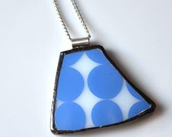 Broken China Jewelry Pendant - Blue Dot Pyrex