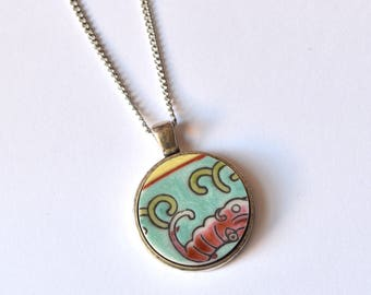 Simple Circle Broken Plate Pendant - Teal Chinese - Recycled China