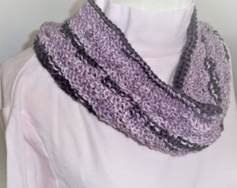 Knit   Cowl -  Circle Scarf - Hand Knit Circle Cowl - Dark and Light Purples - Winter Accessories - Girls Gift