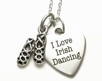 "I Love Irish Dancing Necklace with Ghillies on 18"" Sterling Silver Cable Chain Gift Boxed"