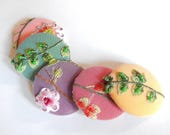 Beaded embroidered fabric covered buttons, 1 7/8 inches, 1.9 inches, 4.7 cm, 48.26 mm, size 75 buttons, 5 colors, price per button