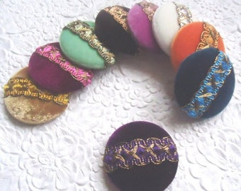 CLEARANCE - Velvet buttons, covered buttons, embellished buttons, size 75 buttons