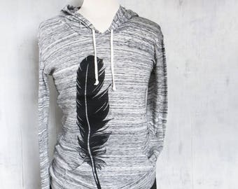 Feather Lightweight Hoodie, Hoodie Women, Gift for Women, Black Feather Hoodie, Cute Hoodie, Bird Hoodie