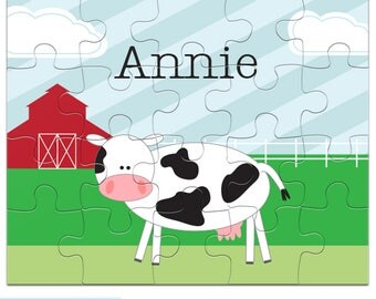 Cow Puzzle - Personalized Puzzle for Kids - Jigsaw Puzzle - 20 pieces, 8 x 10 inches, Custom Farm Puzzle with your child's name