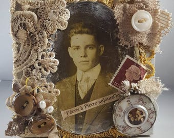 Shabby brocante Assemblage vintage photo of man accented by found objects lace