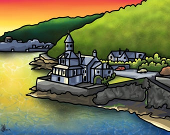 Clockhouse At Sunrise - colourful fine art print by Amanda Hone