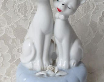 Vintage Porcelain Sankyo Music Box with Two White Cats Blue Eyes Mid Century