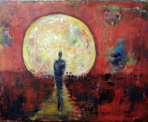 Red Figure Sun Solstice Abstract Art Oil Painting Colorful Painting 30x24 by BenWill