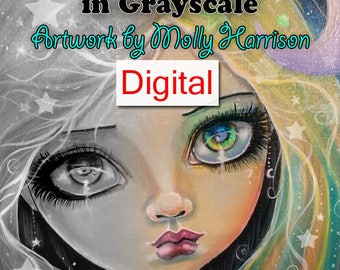 Printable Digital Download PDF File - Fantasy and Fairytale Art - A GRAYSCALE Coloring Book for Grownups - Molly Harrison Fantasy Art
