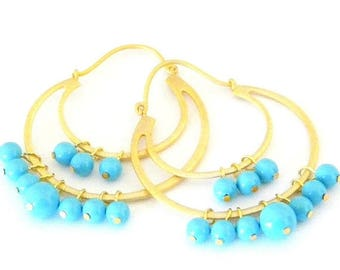 SALE Swarovski Crystal Turquoise Pearl Gold Hoop Earrings