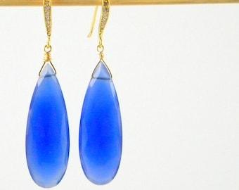 Blue Earrings, Chalcedony Teardrop Earrings, Royal Blue Earrings, Long Earrings, Statement Earrings, Faceted Teardrop Earrings, Gift for Her