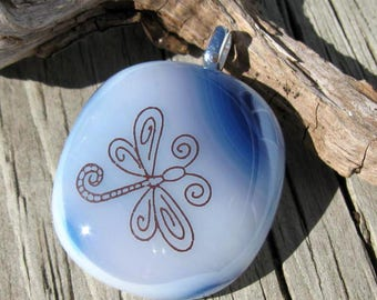 Whimsical Damselfly Fused Glass Pendant