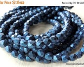 20% Clearance SALE 4mm Czech Beads - Metallic Suede Blue Firepolished Faceted 50 pcs (G - 31)