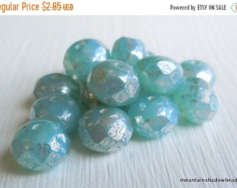 20% Summer SALE Czech Rondelle Bead - Picasso Beads - Czech Glass Bead Milky Aqua Silver Picasso 8mm Rondelle (G - 326) 10 Beads