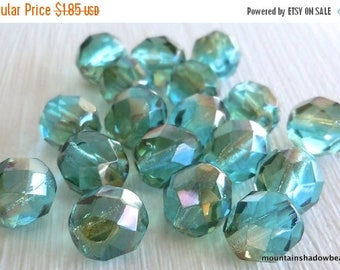 20% Summer SALE Aqua Celsian - Czech Glass Beads 8mm Faceted Bead - 12 (G - 734)