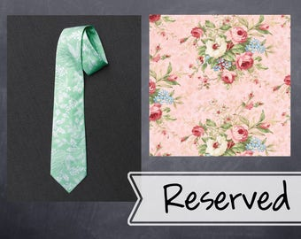 Reserved - Men's matching neckties - Pink floral cotton print