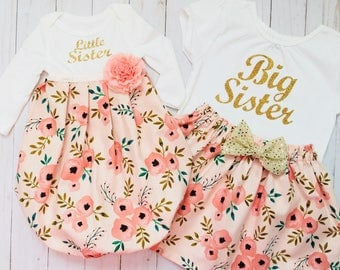SISTER Outfits ..big sister--- little sister--- shabby chic coral pink and rose print... New baby... Coming home outfit